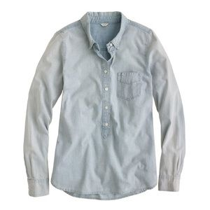 J. Crew Chambray Faded Popover Button Up S